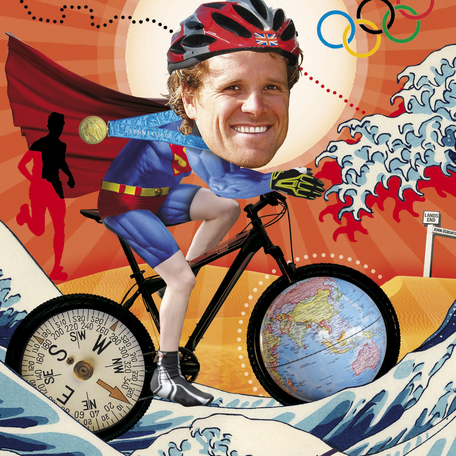 James Cracknell, collage illustration