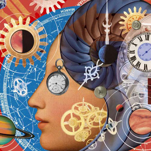 illustration for review of a book on Time, history of time photomontage illustration with clocks