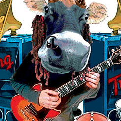 funky collage illustration cow music pop rock